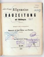 1867 Allgemeine Bauzeitung mit Abbildungen. Hrsg. C. F. L. Förster. Osztrák-Magyar Monarchia egyik legjelentősebb építészeti folyóiratának teljes évfolyama egybekötve, nem lapszámozás szerinti sorrendben. Korabeli félvászonkötésben, márványozott lapszélekkel. Érvénytelen könyvtári pecsétekkel. Nem kollacionált.