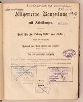1863 Allgemeine Bauzeitung mit Abbildungen. Hrsg. C. F. L. Förster. Osztrák-Magyar Monarchia egyik legjelentősebb építészeti folyóiratának teljes évfolyama egybekötve. Számos kihajtható melléklettel. Korabeli félvászonkötésben, márványozott lapszélekkel. Érvénytelen könyvtári pecsétekkel. Nem kollacionált.