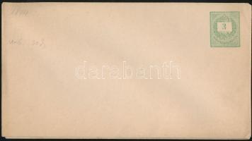 1874 + 1878 Használatlan 3kr vízjeles boríték I. és V. vízjellel (17.500)