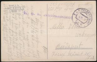 1918 Tábori posta képeslap K.u.k.. Autokolonne + FP 562
