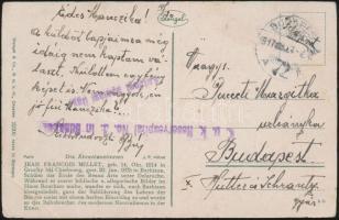 1917 Tábori posta képeslap K.u.k. Reservespital No. 3. in Budapest + Katonai ápolási ügy.