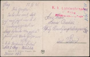1918 Tábori posta képeslap K.k. Landwehrspital Prag Militär...pflege
