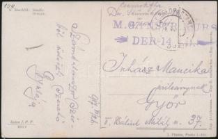 1917 Tábori posta képeslap M.G. IN STR. KURS DER 14. I.D. + FP 361 a