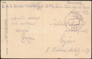1917 Tábori posta képeslap K.u.k. Korps-Sturmkurs XVI. + FP 192