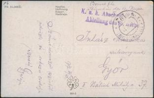 1917 Tábori posta képeslap K.u.k. ... Abteilung des 16. Korps + EP 192 a
