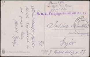 ~1917 Tábori posta képeslap K.u.k. Feldjägerbataillon Nr.11. + FP 361
