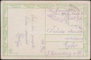 1917 Tábori posta képeslap M.G. INSTR. KORPS DER 14. I.D. + FP 361