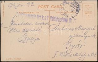 1918 Tábori posta képeslap Stabskompagnie des k.u.k. Feldjägerbaon Nr. 11. + FP 361 b