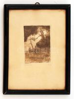 R.G. jelzéssel: Csőszház. Rézkarc, papír, üvegezett keretben, 10×8 cm