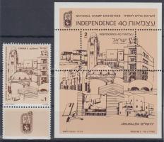 1988 Nemzetközi bélyegkiállítás tabos bélyeg Mi 1088 + blokk Mi 37
