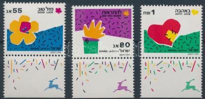 1990 Üdvözlőbélyeg tabos sor Mi 1164-1166
