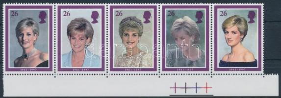 1998 Lady Diana ívszéli ötöscsík Mi 1729-1733