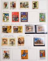 Festmény motívum gyűjtemény rengeteg tengerentúlival, teljes sorokkal csavaros albumban, a használatlan bélyegek filázva