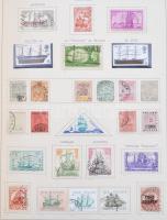 Közlekedés + Népviselet tartalmas motívum gyűjtemények rengeteg tengerentúlival, teljes sorokkal csavaros albumban, a használatlan bélyegek filázva