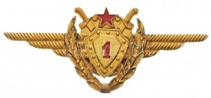 1975. Aranykoszorús I. osztályú repülőgépvezető jelvény jelzett aranyozott ezüst kitüntetés, a medalion nincs rögzítve T:1- RR! / 1975. First class pilot badge with golden wreath, hallmarked gilt silver badge, the medallion is not fixed, it is a very rare version of this decoration! C:AU Rare!