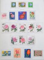 Virágok, növények gyűjtemény rengeteg tengerentúlival, teljes sorokkal vastag csavaros albumban, a használatlan bélyegek filázva