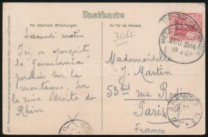 1909 Képeslap METZ - BINGERBRÜCK vasúti bélyegzéssel Párizsba