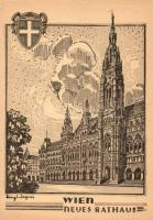 Vienna, Wien I. Neues Rathaus / the new town hall, etching style, s: Heinz Wagner