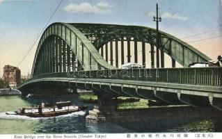 Tokyo, Eitai Bridge over the River Sumida, boat