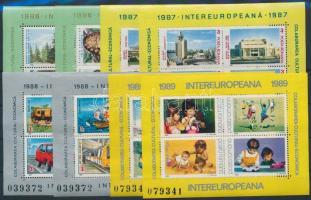 1986-1989 4 diff Intereuropa block pair, 1986-1989 4 klf Intereuropa blokkpár