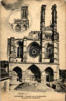Soissons, Facade de la Cathedrale / Front of the Cathedral, damaged by the war, WWI