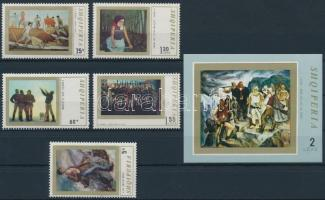 5 diff Paintings stamps + block, 5 klf Festmény bélyeg + blokk