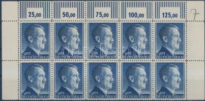 1942 Hitler ívsarki tízestömb (felső ívszélen a fogazás mentén beszakadt) Mi 802 A