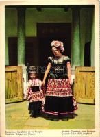 Mother and son in traditional dress, Hungarian folklore from Mezőkövesd, from postcard booklet, Mezőkövesdi népviselet, anya és fia, kiadja a MEFHOSZ, képeslapfüzetből