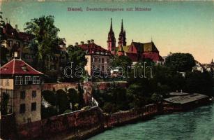 Basel, Deutschrittergarten mit Münster / riverside