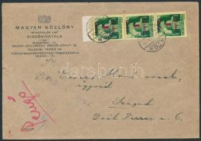 1945 (2. díjszabás) Távolsági levél Kisegítő 1P/1P ívszéli hármascsíkkal bérmentesítve