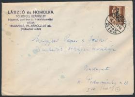1946 (6. díjszabás) Helyi levél Betűs I. Tlp.I./4f bérmentesítéssel