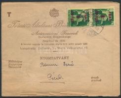 1945 (3. díjszabás) Nyomtatvány Kisegítő 1P/1P párral bérmentesítve
