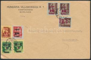 1945 (2. díjszabás)Távolsági levél 7 db 4 klf színű Kisegítő I. bélyeggel bérmentesítve
