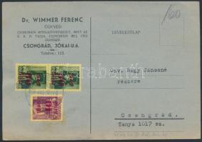 1945 (2. díjszabás) Vidéki helyi levelezőlap Kisegítő I. 40f/24f + 2x60f/8f bérmentesítéssel