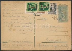 1945 (2. díjszabás) Távolsági 18f-es díjjegyes levelezőlap a korábbi 1-es díjszabás szerinti bérmentesítését a későbbi feladás miatt felül bélyegezték a 2-es díjszabás szerint megfelelően Kisegítő I. 1P/1P párral