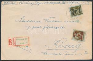 1945 (2. díjszabás) 2. súlykategóriába tartozó ajánlott távolsági levél Kisegítő 1P/80f + 8P/20f bérmentesítéssel