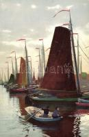 Sailing ships, rowboat, Vitorlás hajók, csónak