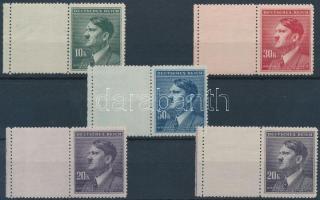 Böhmen und Mähren 1942 Hitler 4 klf ívszéli érték vízszintes baloldali üresmezővel Mi 107-108 LW + 20K színváltozata Mi 108 LW (foghibák)