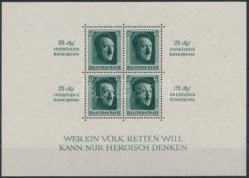 1937 Kultúra fejlesztése; Hitler blokk Mi 9 (színén apró betapadásnyom a blokk alsó szélén / gum disturbance)