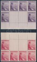 Böhmen und Mähren 1943 Hitler ívszéli nyolcastömb 2-2 üresmezővel Mi 126-127