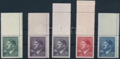 Böhmen und Mähren 1942 Hitler 4 klf ívszéli érték függőleges felső üresmezővel Mi 107-108 LS + 20K színváltozata Mi 108 LS