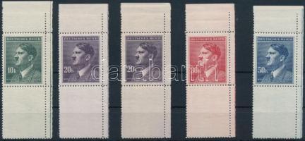Böhmen und Mähren 1942 Hitler 4 klf ívsarki érték függőleges alsó üresmezővel Mi 107-108 LS + 20K színváltozata Mi 108 LS