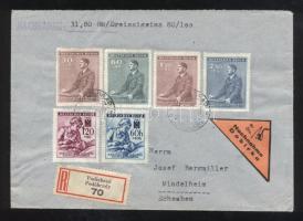 Böhmen und Mähren 1942 Ajánlott utánvételes levél 6 bélyeges bérmentesítéssel / Registered C.O.D. cover franked with 6 stamps