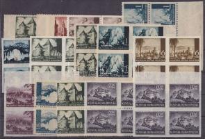 1941-1944 Vágott bélyegek és különlegességek 14 db klf négyestömb 1941-1944 Imperforate stamps and errors, 14 different blocks of 4