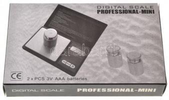 Professional-Mini ékszermérleg 0,01-100g eredeti csomagolásban, leírással, két db elemmel, új állapotban Professional-Mini pocket scale 0,01-100g with description in original box, with information and 2 batteries, new