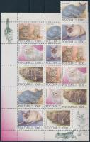Cats set stripe of 5 + mini sheet, Macska sor ötöscsíkban + kisív
