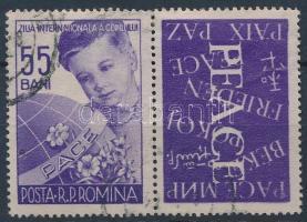 International Year of Children stamp with coupon with English print, Nemzetközi gyermekév szelvényes bélyeg, angol felirattal