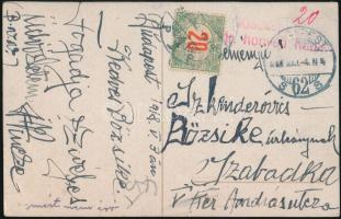 1918 Képeslap tábori kórházból, portózva