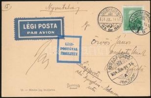 1934 Képeslap légi postával feladva DEBRECEN - NYÍREGYHÁZA - PARÁDFÜRDŐ kézzel ráírva Nyíregyháza - Debreczen uton