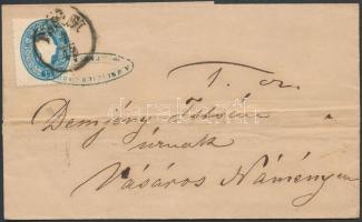1861 15kr levélen PESTH - NYÍREGYHÁZA Bahnhof - VÁSÁROS NAMENY